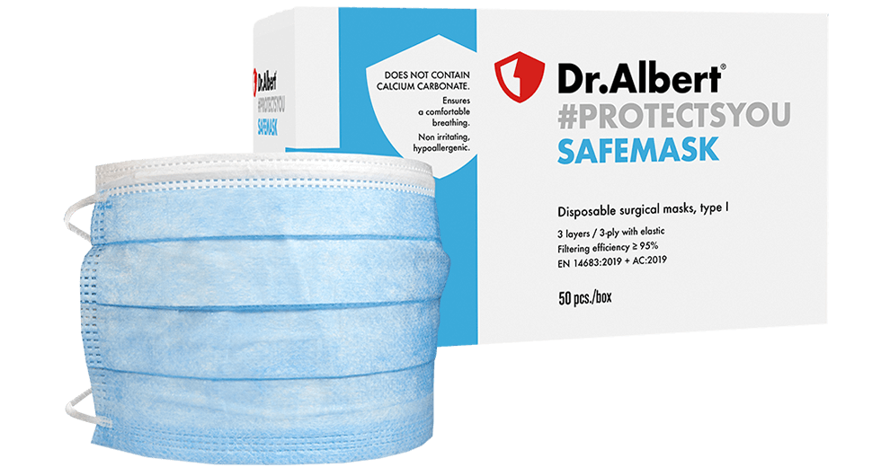 Disposable surgical masks, type I